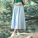及膝裙 春裝百褶裙純色棉麻長裙亞麻文藝範半身裙大擺裙 果果輕時尚
