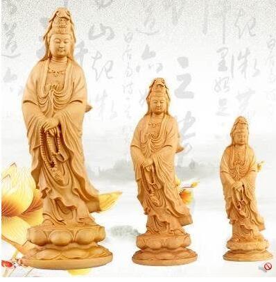 黃楊木雕觀音菩薩佛像 辦公室裝飾品擺件客廳 溫州特色民間工藝品 12cm