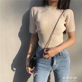 夏裝韓國chic風百搭修身彈力顯瘦針織圓領短袖T恤上衣女 可可鞋櫃
