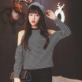 EASON SHOP(GU7639)小性感撞色橫條紋露肩挖洞削肩圓領長袖T恤女上衣服寬鬆顯瘦內搭衫修身棉T恤黑色