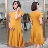 孕婦洋裝連身裙夏短袖寬鬆中長款韓版上衣 nm1757 【Pink中大尺碼】