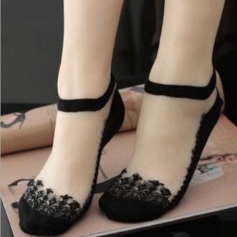 ►蕾絲花邊襪透明隱形襪水晶短襪韓國薄款可愛玻璃絲襪船襪夏季襪子【B7125】