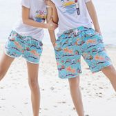 沙灘情侶裝 情侶沙灘褲T恤套裝成人男女海邊巴厘島蜜月度假純棉印花速乾短褲 歐萊爾藝術館