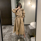 2021年春秋季新款韓版寬鬆中長款風衣外套女小個子chic大衣流行秋裝潮炸街設計感氣質大衣罩衫