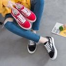 帆布鞋楊冪同款帆布鞋女ins超火紅色閃電休閒原宿透氣學生新款板鞋 99