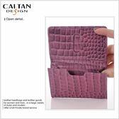 牛皮/名片夾【CALTAN】簡約橫式名片卡片夾-1801壓紋紫