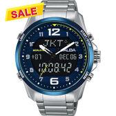 【限時搶購! 領券3380元】ALBA 雅柏 W兩個世界雙顯限量手錶-藍/44mm N021-X004B(AZ4025X1)