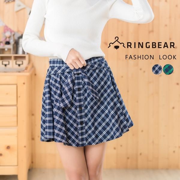 短裙--甜美學院風氣質蝴蝶結排釦裝飾鬆緊格紋褲裙(藍.綠XL-4L)-R173眼圈熊中大尺碼