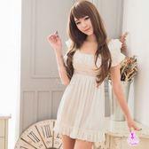 優雅甜美白色柔緞公主袖睡衣 | OS小舖