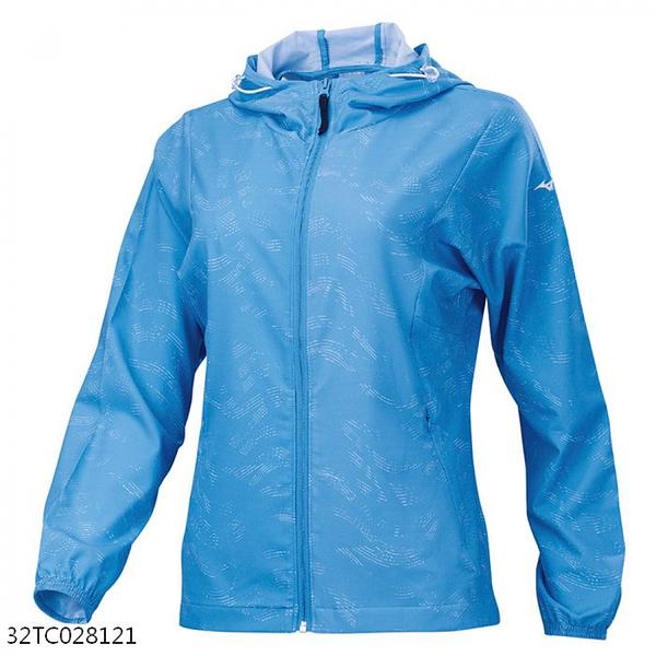 MIZUNO 女裝 外套 慢跑 休閒 套裝 平織 連帽外套 抗紫外線 拉鍊口袋 藍【運動世界】32TC028121