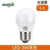 HONEY COMB Maogo LED3W廣角度球泡6入 TB803W-06 / 白光