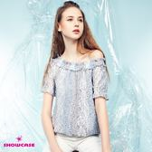 【SHOWCASE】三色直條紋蕾絲平領露肩上衣(藍)