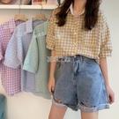 復古格子襯衫女設計感小眾韓版Chic撞色翻領寬鬆洋氣減齡上衣快速出貨