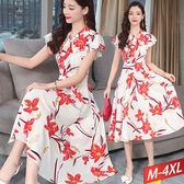 紅花彩印荷葉袖繫帶領洋裝M~4XL【721395W】【現+預】☆流行前線☆