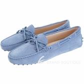 TOD'S Gommino 新版同色字母麂皮休閒豆豆鞋(女鞋/雲藍色) 1840082-85