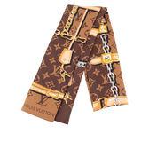 【LV】經典CONFIDENTIAL珠寶圖案LOGO絲巾(棕色) M78655