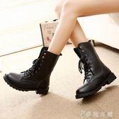 馬丁靴  馬丁靴女英倫風學生韓版百搭原宿工裝短靴機車靴 伊鞋本鋪
