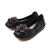 【南紡購物中心】W&M (女)圓頭拼接皮花厚底 娃娃鞋 平底鞋 女鞋 -黑(另有米)