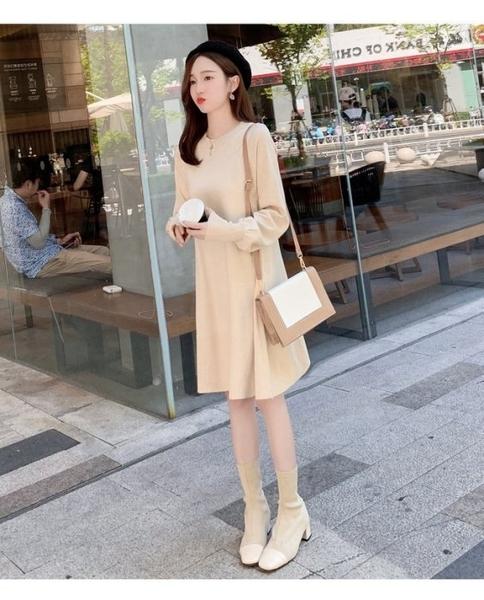 漂亮小媽咪 針織裙 【D5511】韓系 細緻針織 V領 親膚棉感 高質感 彈力 毛衣裙 孕婦裝 針織洋裝