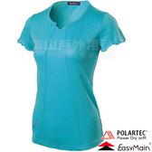 EasyMain衣力美 TE18022-57湖水藍 女防臭抗UV短T恤  Polartec防曬抗UV運動排汗衣