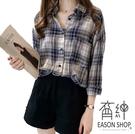 EASON SHOP(GW5288)韓版復古撞色格紋單口袋長版前排釦開衫長袖襯衫外套格子女上衣服空調衫防曬衫