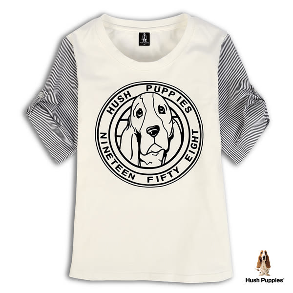 Hush Puppies 女裝袖拼接植絨印花短袖上衣