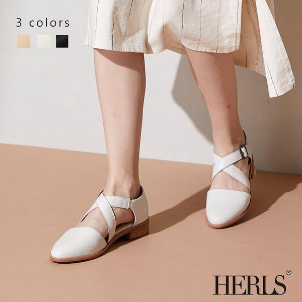低跟鞋-HERLS 輕恬優雅 全真皮交錯繫帶低跟