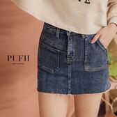 (現貨-深藍款/淺藍S-L)PUFII-牛仔褲裙 顯瘦彈力不對稱造型丹寧牛仔短褲裙 2色-1025 現+預 秋【CP15423】