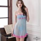 性感睡衣 大尺碼Annabery粉藍蕾絲二件式柔紗睡衣 SEXYBABY 性感寶貝NY14020032
