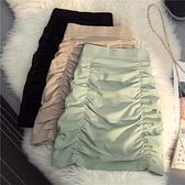 綠色褶皺半身裙女純色2021年夏季新款高腰顯瘦A字裙百搭a型小短裙 pinkq時尚女裝