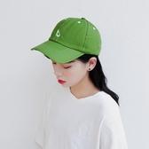 夏季水洗做舊綠色牛油果刺繡棒球帽【多多鞋包店】m391