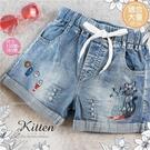 (大童款-女)貓咪魚兒綁帶牛仔短褲熱褲(310066)【水娃娃時尚童裝】