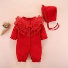 新年寶寶拜年服【HA0009】寶寶三層棉大紅連身衣 嬰兒 連身衣 兔裝 寶寶服 新生兒服 (70-80碼)