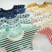 嬰兒圍嘴 3條裝嬰兒純棉口水巾新生兒360度旋轉圍嘴防水按扣圍兜寶寶防吐奶 小艾時尚