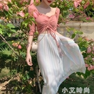 夏季新款氣質顯瘦輕熟風雪紡裙子女兩件套法式小眾仙女修身洋裝 小艾新品