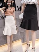 2018夏新款高腰半身裙百搭包臀裙一步裙長裙女荷葉邊魚尾裙A字裙   莉卡嚴選