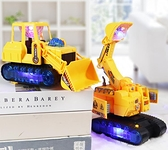 玩具賽車 兒童電動挖掘機玩具男閃光音樂玩具車電動萬向工程車挖土機模型【快速出貨八折搶購】