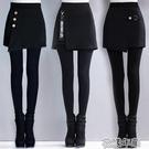 假兩件褲帶裙子秋冬加絨加厚假兩件打底褲女外穿踩腳顯瘦保暖包臀裙褲 快速出貨