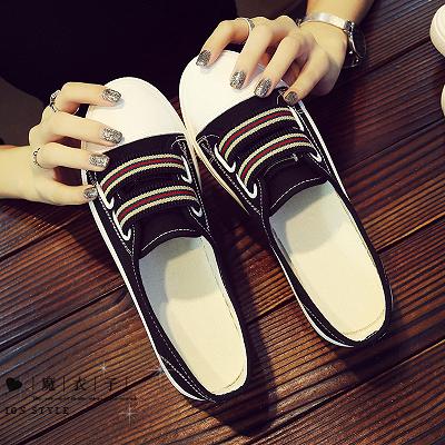 【QV8155】魔衣子-韓版帆布平底懶人一腳蹬淺口布鞋