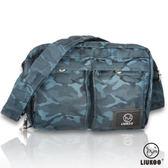 ~禾雅~LIUKOO 戰地叢林迷彩系列雙口袋 防潑水小容量側背包~沉穩藍~