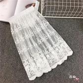 內搭襯裙新品內搭蕾絲打底裙仙女繡花網紗半身裙中長版單層內襯裙