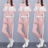 運動服套裝女夏裝2020年新款潮牌時尚寬鬆休閒洋氣夏天冰絲大碼兩件套 LR24968『毛菇小象』