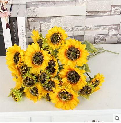 F0751 2花1蕾單枝向日葵高仿真花 落地假花裝飾花 客廳插花塑料花絹花(單支)