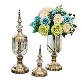 花瓶 創意歐式花瓶擺件玻璃透明美式餐桌奢華軟裝飾品家居客廳仿真插花 快速出貨