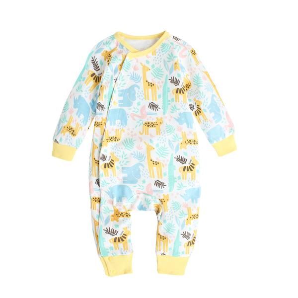 Augelute Baby童衣 睡衣型連身衣 居家 純棉 側開 男寶寶 女寶寶 爬服 哈衣 35041