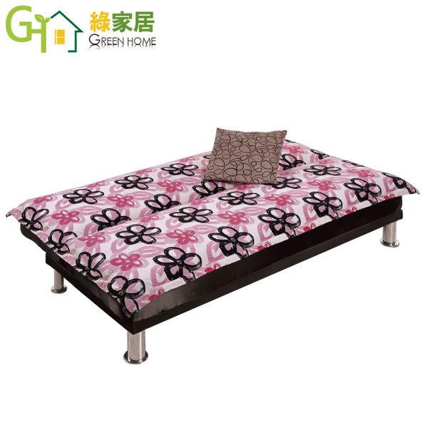 【綠家居】溫妮 時尚花漾亞麻布二用沙發/沙發床(分段式機能設計)
