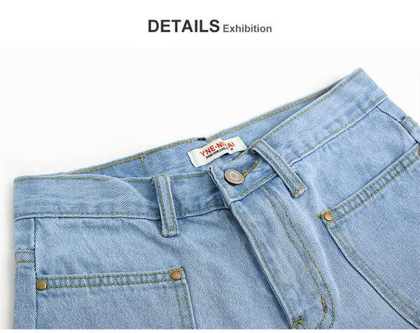 C2008#  高腰牛仔短褲女夏顯瘦闊腿褲韓版大碼寬鬆熱褲   &小咪的店&