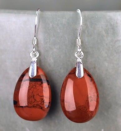 [協貿國際]天然紅玉髓水滴耳環925純銀耳勾單對價