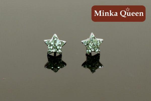 德國鈦鋼閃亮滿鑽星綠色精緻水鑽抗敏耳環(一對)(7 mm)