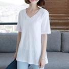2021新款純棉短袖t恤女中長款寬鬆韓版白色半袖大碼顯瘦夏季上衣T 依凡卡時尚